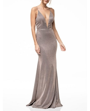 Champagne Glitter Halter Formal Dress