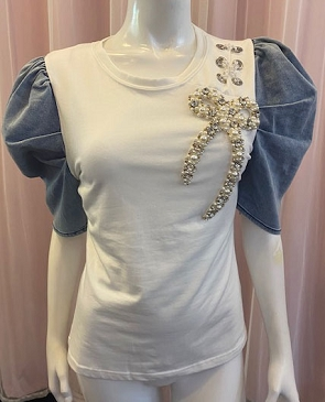 White Tshirt with Denim Puff Sleeves and Pearl Trims