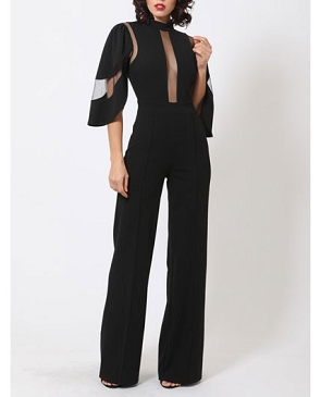 Mesh Cutout Halter Jumpsuit with Flowy Sleeves- 2 Colors