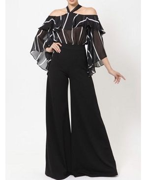 L/S Striped Chiffon Top Jumpsuit