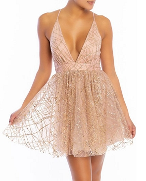 Rose Gold Glitter Deep V Short Maxi Dress