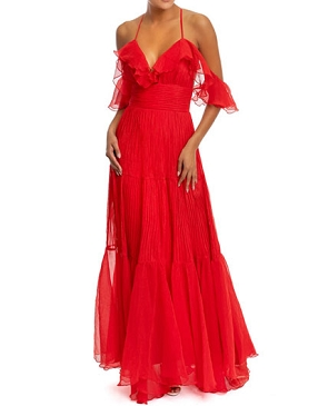Red Chiffon Espanola Formal Dress
