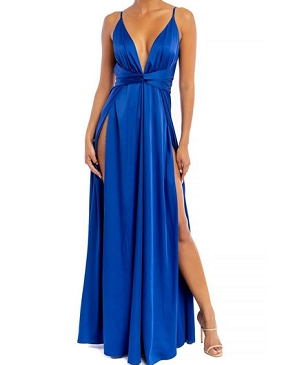 Satin Plunged V-Neck Maxi Dress with Slits- 3 Colors