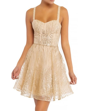 Gold Glitter Sparkles Flared Mini Dress
