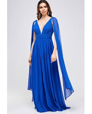 Royal Blue Chiffon Formal Dress with Cape Sleeves
