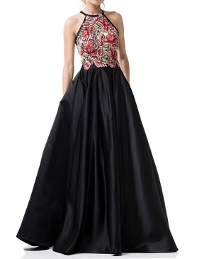 Black Satin Ball Gown w/Rose Halter Bodice