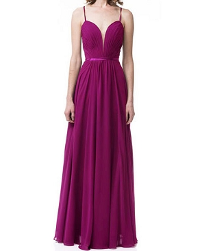 Magenta Chiffon Evening Dress