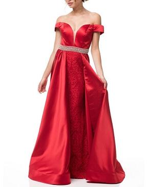 Red Off the Shoulder Evening Dress w/Skirt Overlay