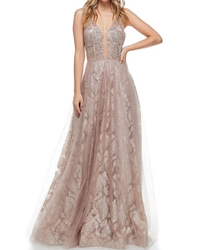 Rose Gold Glitter and Tulle V-Neck Evening Dress