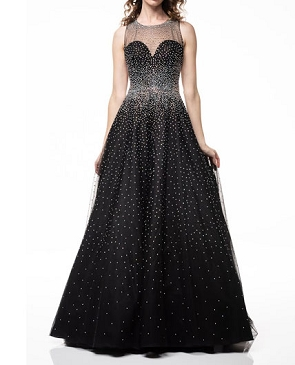 Black Rhinestone Tulle Ball Gown