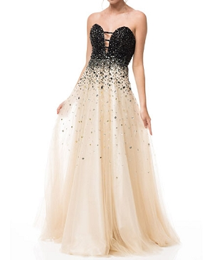 Champagne Sweetheart Ball Gown w/Black Rhinestones