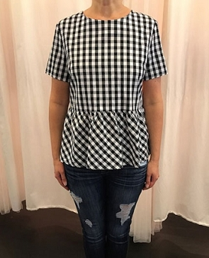 Gingham Print Peplum Top