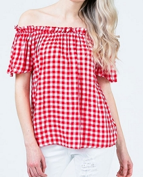 Gingham Print Off the Shoulder Top- 2 Colors