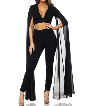 Deep V Crop Top w/Cape Style Chiffon Slitted Sleeves- 2 Colors