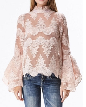 Organza Lace Hi Neck Blouse w/Bell Sleeves- 2 Colors