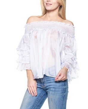 Off the Shoulder Chiffon Top w/Ruffle Sleeves- 3 Colors