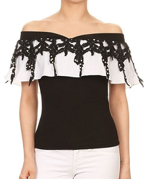 Black Off the Shoulder Top w/White Ruffle and Pearls