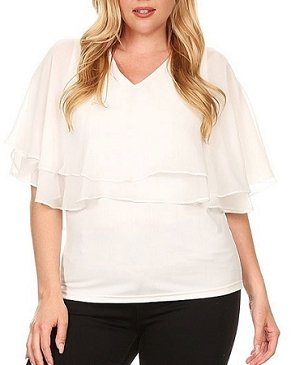 Chiffon Double Ruffle Sold Top- 2 Colors- Plus Size