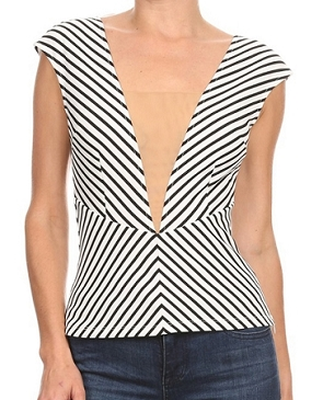 Stripe Deep V Top