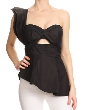 Black One Shoulder Top w/Dramatic Ruffle