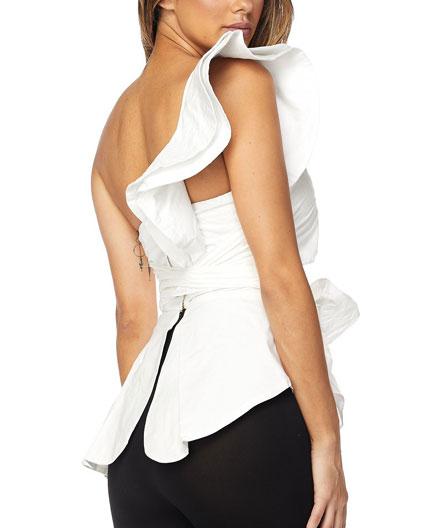 12c745c067a9b6 Shop One Shoulder Peplum Top with Ruffle, Shop trendy clothing Miami ...