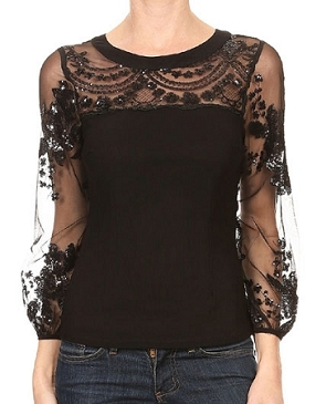 Black Mesh Blouse w/Mesh Sequins Sleeves