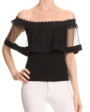 Off the Shoulder Top w/Mesh Overlay and Trims- 2 Colors