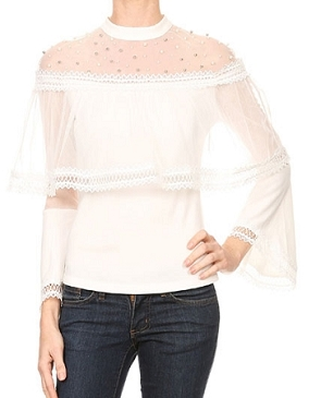 Mockneck Bell Sleeve Mesh Blouse w/Pearl Trim- 2 Colors