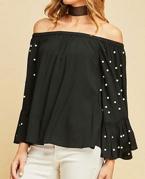 Off the Shoulder Top w/Pearl Bell Sleeves- 4 Colors