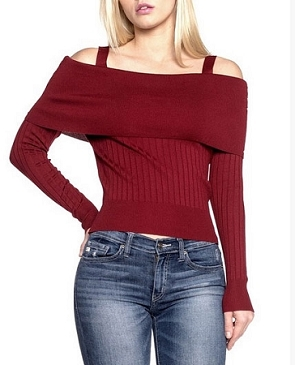 Off the Shoulder Knit L/S Sweater Top- 3 Colors
