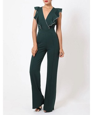 Hunter Green Jumpsuit with Ruffle and Rhinestone Trims