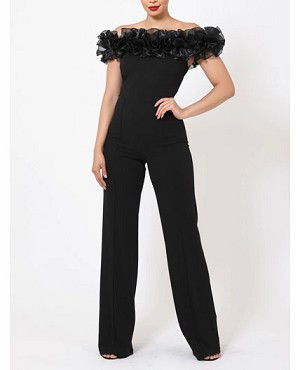 Black Off the Shoulder Jumpsuit with Organza Ruffles