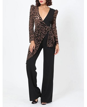 Animal Print Long Sleeve Black Jumpsuit