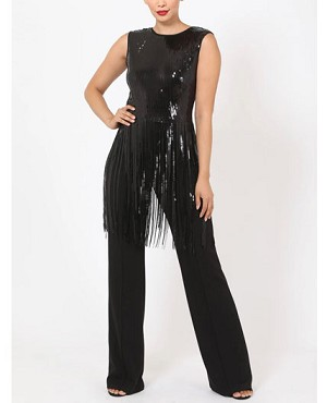 Black Jumpsuit with Sequins and Fringe