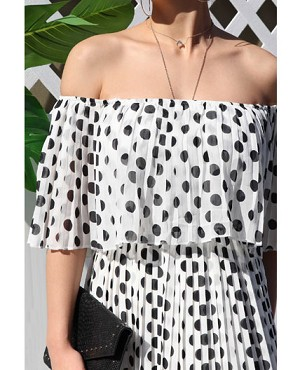 Polka Dot Off the Shoulder Chiffon Maxi Dress
