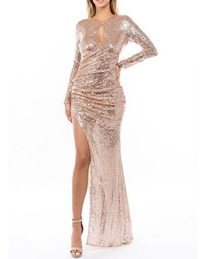 Champagne Sequins Long Sleeve Formal Dress w/Slit