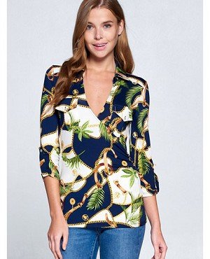 Leaves Chain Print V-Neck Top