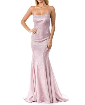 Ombre Glitter Halter Mermaid Formal Dress with Open Back- 2 Colors