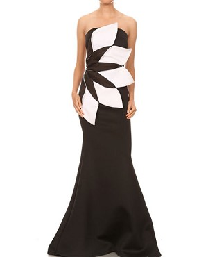 Strapless Scuba Formal Dress with Colorblock Flower- 2 Colors