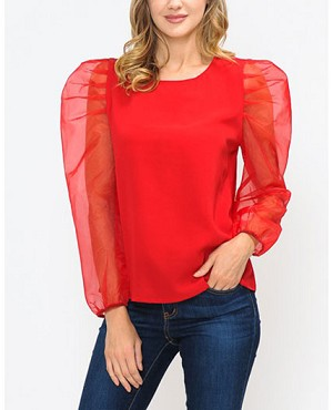 Red Top with Organza Puff Long Sleeves