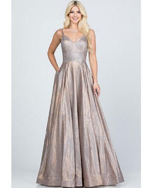 Champagne Glitter Jacquard Ball Gown