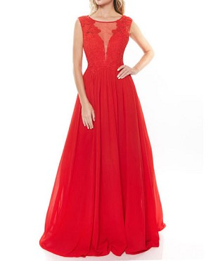 Red Chiffon Ball Gown w/Lace Trim Bodice