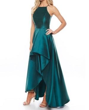 Mikado High Low Formal Dress Hunter Green Formal Dress Blush