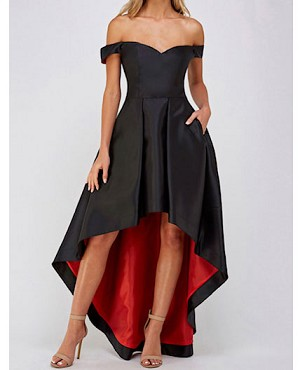 Black Mikado Off the Shoulder Hi Low Dress with Red Colorblock