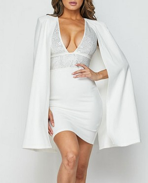 White Halter Short Dress with Cape