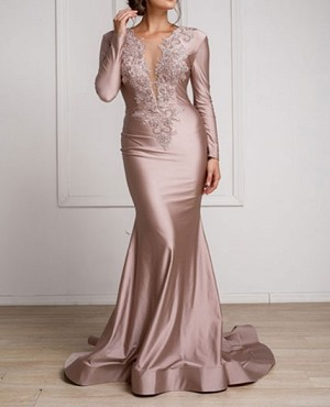 Mauve Crystal Long Sleeve Mermaid Dress w/Trims