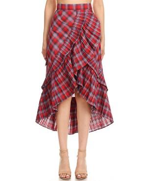 4def9359b7cdca Red Plaid High Low Skirt, Red Plaid Ruffle Skirt, Red Plaid Knee Length  Skirt, shop Trendy Clothing Miami