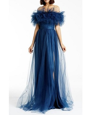 Off the Shoulder Puff Tulle Evening Dress with Slit- 2 colors