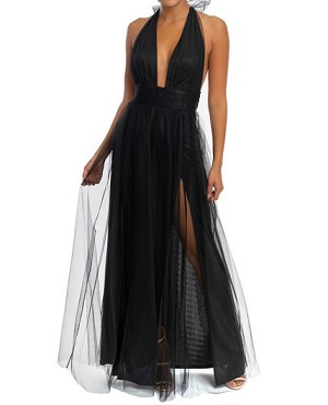 Halter Tulle Maxi Dress w/Slits- 2 Colors