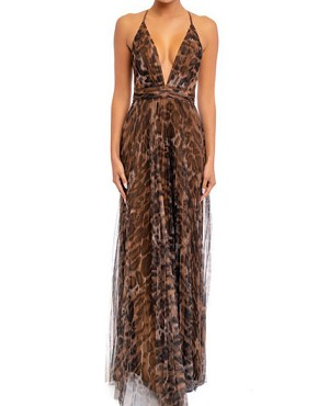 Animal Print Tulle Pleads Maxi Dress